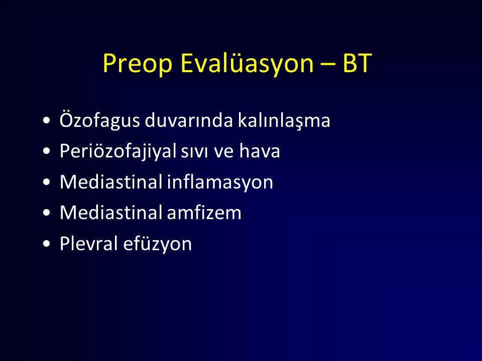 Preop Evalüasyon – BT Özofagus duvarında kalınlaşma Periözofajiyal sıvı ve hava Mediastinal inflamasyon Mediastinal amfizem Plevral efüzyon