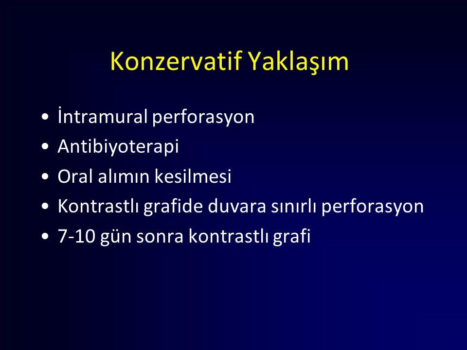 Konzervatif Yaklaşım İntramural perforasyon Antibiyoterapi Oral alımın kesilmesi Kontrastlı grafide duvara sınırlı perforasyon 7-10 gün sonra kontrast