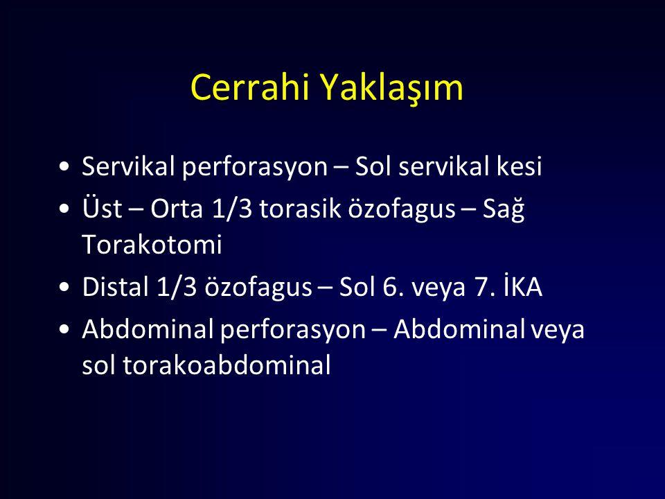 Cerrahi Yaklaşım Servikal perforasyon – Sol servikal kesi Üst – Orta 1/3 torasik özofagus – Sağ Torakotomi Distal 1/3 özofagus – Sol 6. veya 7. İKA Ab