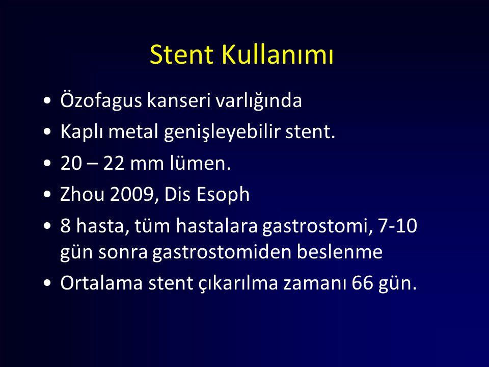 Stent Kullanımı Özofagus kanseri varlığında Kaplı metal genişleyebilir stent. 20 – 22 mm lümen. Zhou 2009, Dis Esoph 8 hasta, tüm hastalara gastrostom