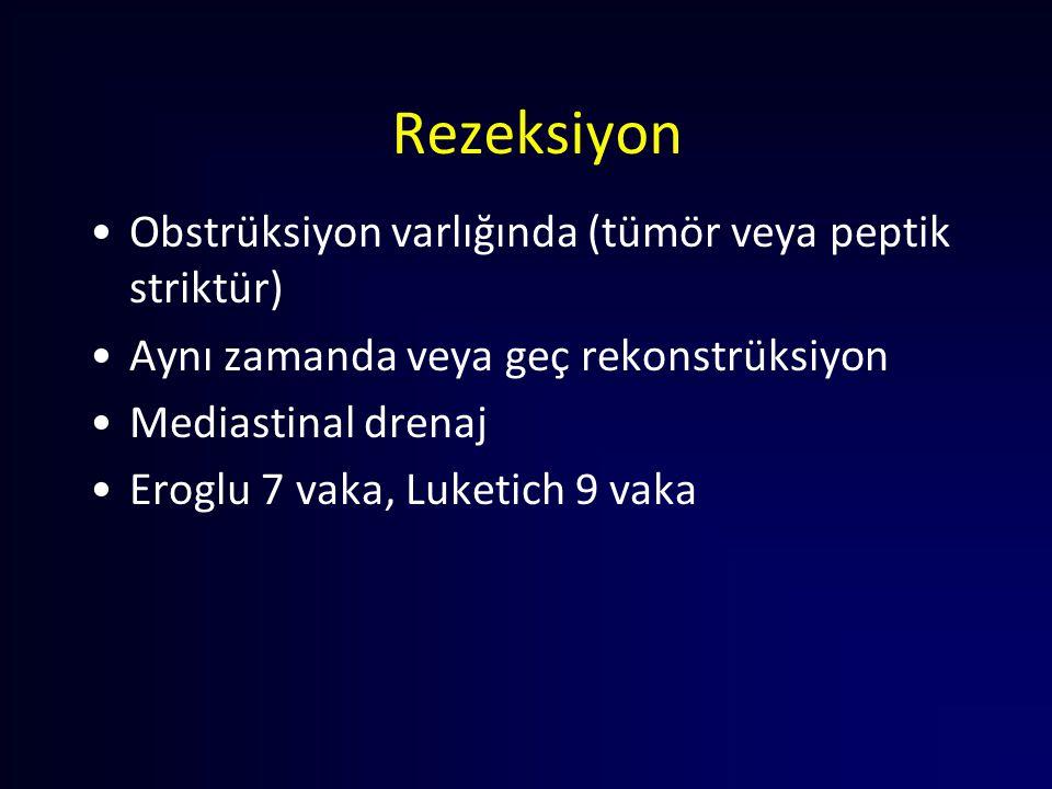 Rezeksiyon Obstrüksiyon varlığında (tümör veya peptik striktür) Aynı zamanda veya geç rekonstrüksiyon Mediastinal drenaj Eroglu 7 vaka, Luketich 9 vak