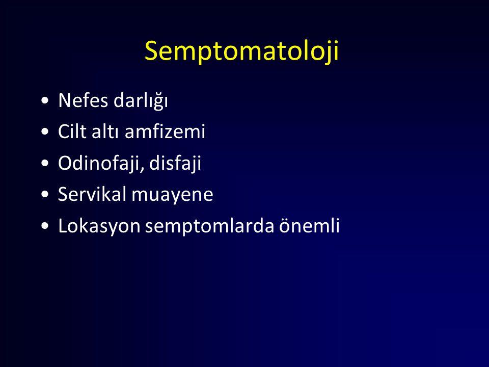Semptomatoloji Nefes darlığı Cilt altı amfizemi Odinofaji, disfaji Servikal muayene Lokasyon semptomlarda önemli