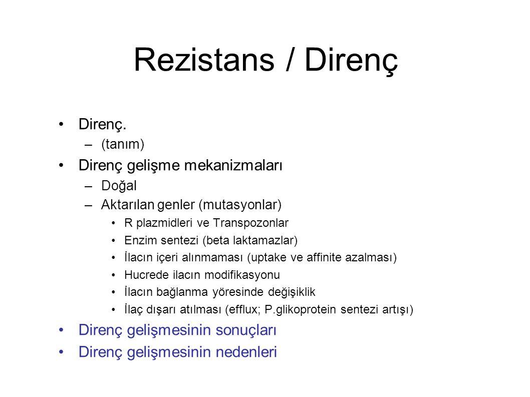 Rezistans / Direnç Direnç. –(tanım) Direnç gelişme mekanizmaları –Doğal –Aktarılan genler (mutasyonlar) R plazmidleri ve Transpozonlar Enzim sentezi (