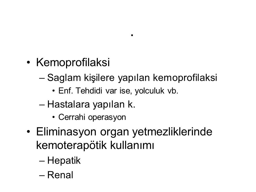. Kemoprofilaksi –Saglam kişilere yapılan kemoprofilaksi Enf. Tehdidi var ise, yolculuk vb. –Hastalara yapılan k. Cerrahi operasyon Eliminasyon organ