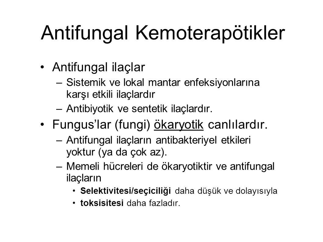 Antifungal Kemoterapötikler Antifungal ilaçlar –Sistemik ve lokal mantar enfeksiyonlarına karşı etkili ilaçlardır –Antibiyotik ve sentetik ilaçlardır.