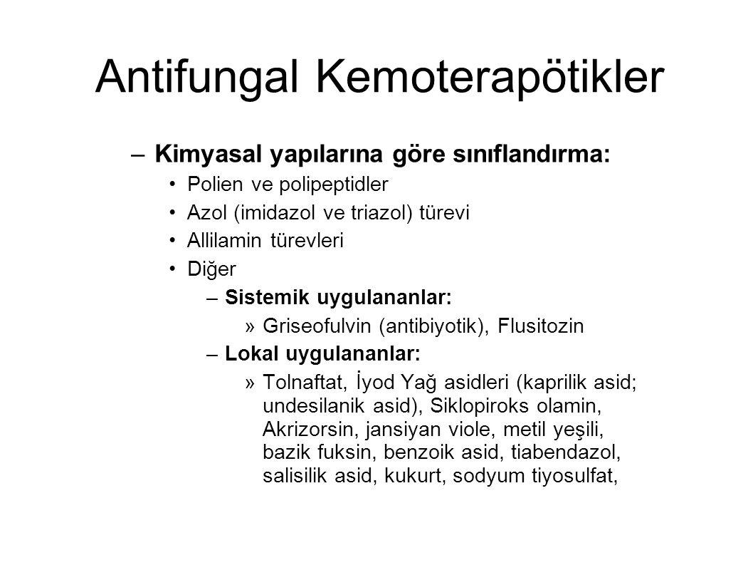 Antifungal Kemoterapötikler –Kimyasal yapılarına göre sınıflandırma: Polien ve polipeptidler Azol (imidazol ve triazol) türevi Allilamin türevleri Diğ