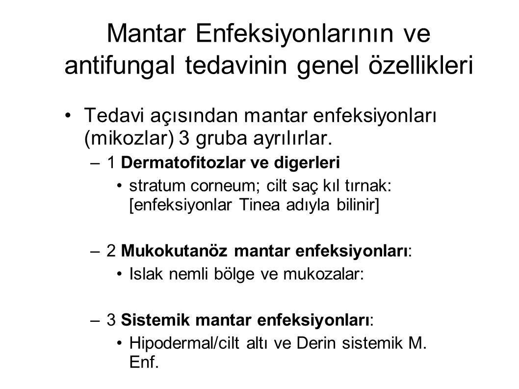 Mantar Enfeksiyonlarının ve antifungal tedavinin genel özellikleri Tedavi açısından mantar enfeksiyonları (mikozlar) 3 gruba ayrılırlar. –1 Dermatofit