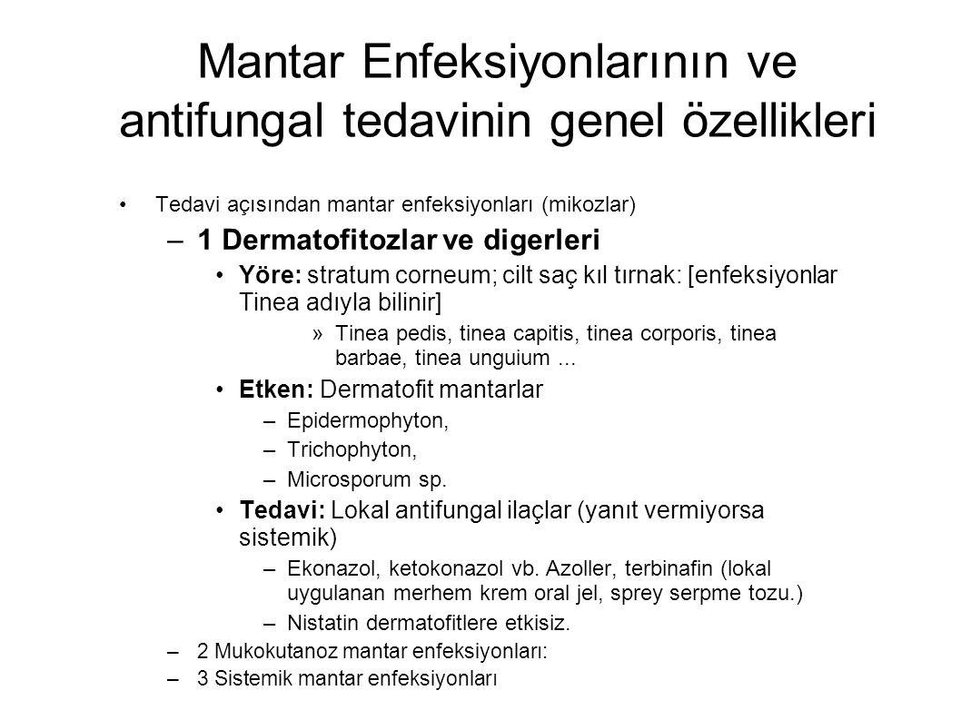 Mantar Enfeksiyonlarının ve antifungal tedavinin genel özellikleri Tedavi açısından mantar enfeksiyonları (mikozlar) –1 Dermatofitozlar ve digerleri Y