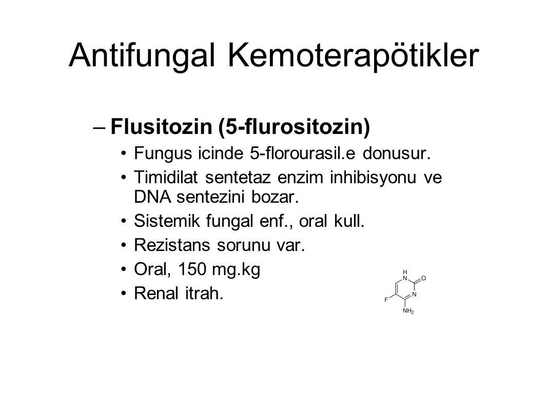 Antifungal Kemoterapötikler –Flusitozin (5-flurositozin) Fungus icinde 5-florourasil.e donusur. Timidilat sentetaz enzim inhibisyonu ve DNA sentezini