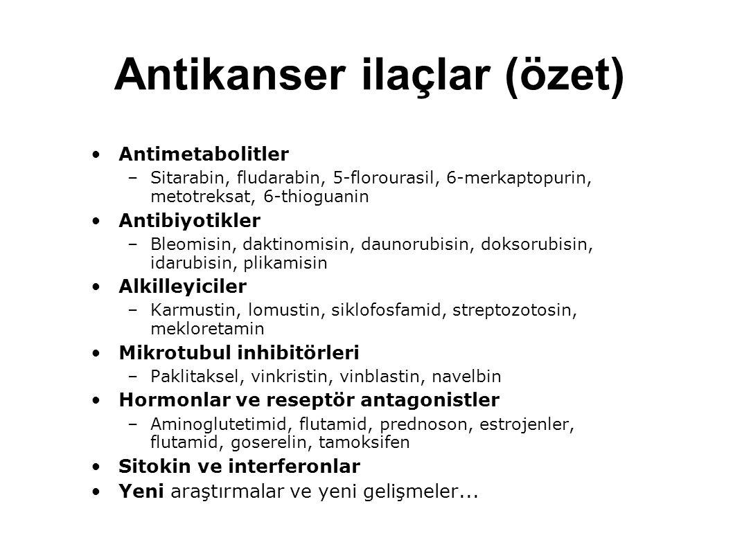 Antikanser ilaçlar (özet) Antimetabolitler –Sitarabin, fludarabin, 5-florourasil, 6-merkaptopurin, metotreksat, 6-thioguanin Antibiyotikler –Bleomisin