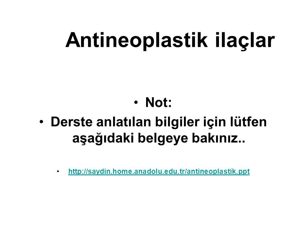 Antineoplastik ilaçlar Not: Derste anlatılan bilgiler için lütfen aşağıdaki belgeye bakınız.. http://saydin.home.anadolu.edu.tr/antineoplastik.ppt