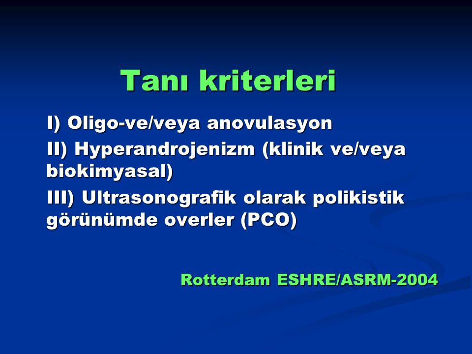 Tanı kriterleri I) Oligo-ve/veya anovulasyon I) Oligo-ve/veya anovulasyon II) Hyperandrojenizm (klinik ve/veya biokimyasal) II) Hyperandrojenizm (klin