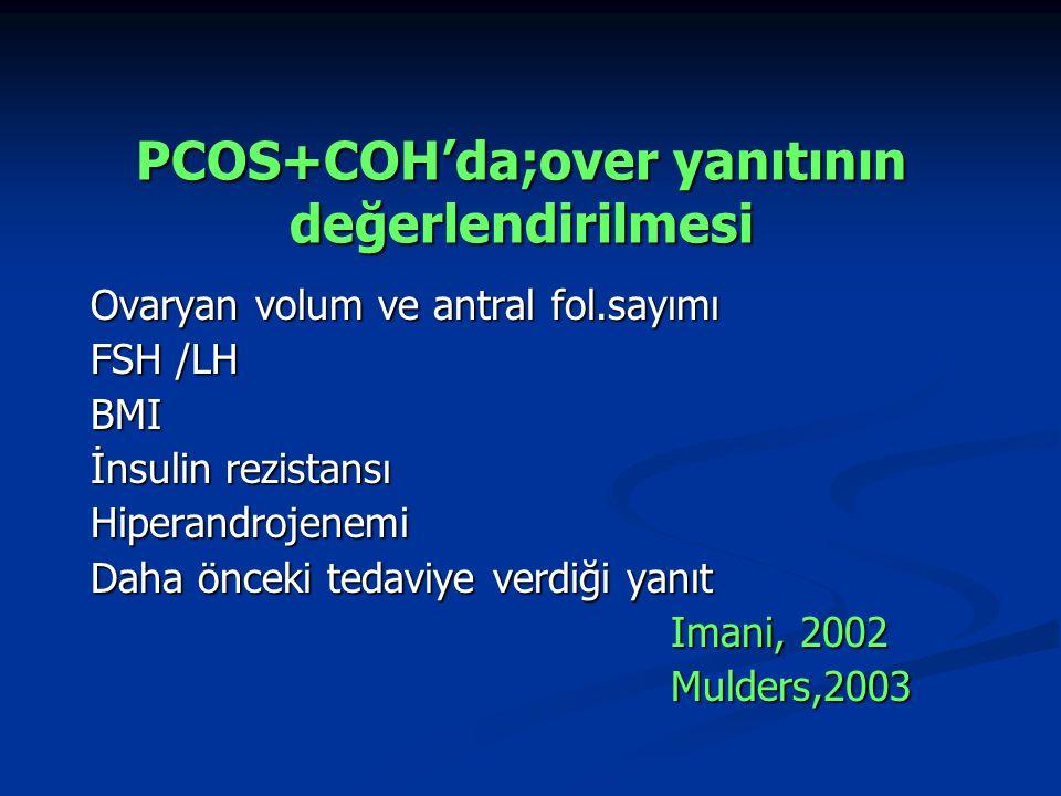 PCOS+COH'da;over yanıtının değerlendirilmesi Ovaryan volum ve antral fol.sayımı FSH /LH BMI İnsulin rezistansı Hiperandrojenemi Daha önceki tedaviye v