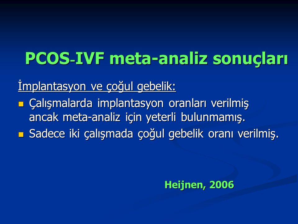 PCOS - IVF meta-analiz sonuçları İmplantasyon ve çoğul gebelik: Çalışmalarda implantasyon oranları verilmiş ancak meta-analiz için yeterli bulunmamış.