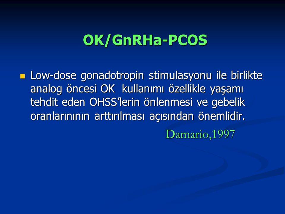 Low-dose gonadotropin stimulasyonu ile birlikte analog öncesi OK kullanımı özellikle yaşamı tehdit eden OHSS'lerin önlenmesi ve gebelik oranlarınının