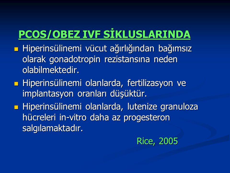 PCOS/OBEZ IVF SİKLUSLARINDA PCOS/OBEZ IVF SİKLUSLARINDA Hiperinsülinemi vücut ağırlığından bağımsız olarak gonadotropin rezistansına neden olabilmekte
