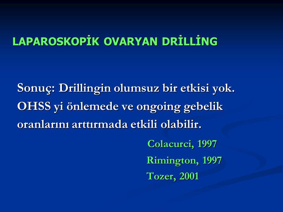 Sonuç: Drillingin olumsuz bir etkisi yok. OHSS yi önlemede ve ongoing gebelik oranlarını arttırmada etkili olabilir. Colacurci, 1997 Rimington, 1997 T