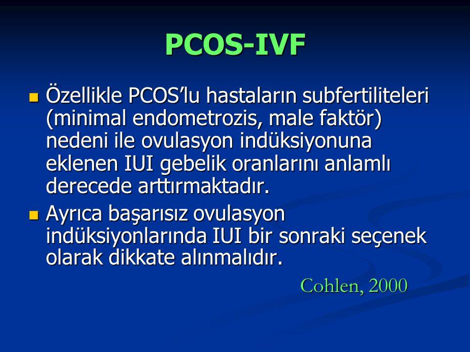 PCOS-IVF Özellikle PCOS'lu hastaların subfertiliteleri (minimal endometrozis, male faktör) nedeni ile ovulasyon indüksiyonuna eklenen IUI gebelik oran