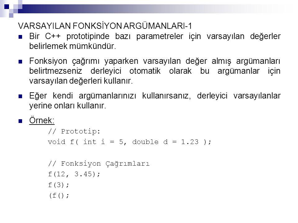 const NİTELEYİCİSİ - 3 const niteleyicisi bir fonksiyonun parametrelerinden birinin değerini değiştirmesine engel olmak için de kullanılabilir: int salt_okur( const struct Node *nodeptr ); Bu prototip salt_okur fonksiyonunun parametresinin işaret etmiş olduğu Node topluluğunu değiştiremeyeceğini bildirmektedir.