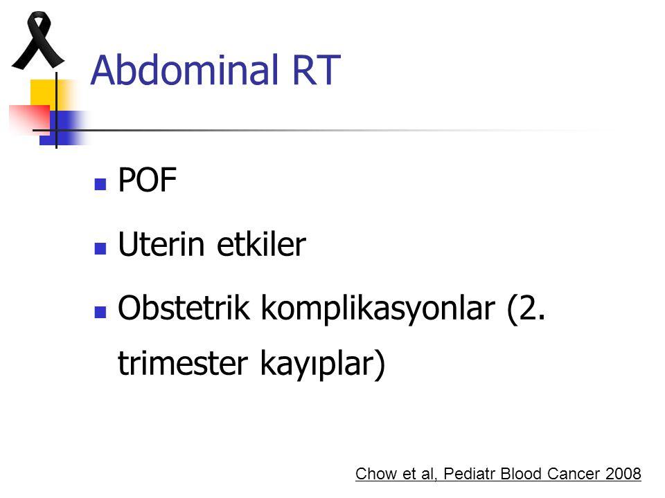 Abdominal RT POF Uterin etkiler Obstetrik komplikasyonlar (2. trimester kayıplar) Chow et al, Pediatr Blood Cancer 2008
