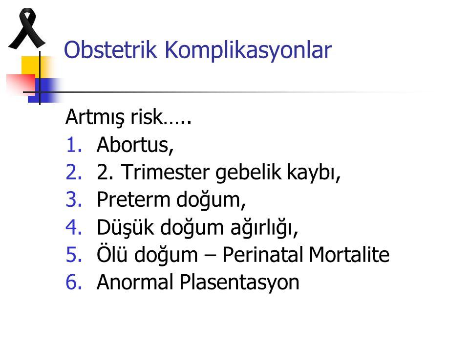 Obstetrik Komplikasyonlar Artmış risk….. 1.Abortus, 2.2. Trimester gebelik kaybı, 3.Preterm doğum, 4.Düşük doğum ağırlığı, 5.Ölü doğum – Perinatal Mor