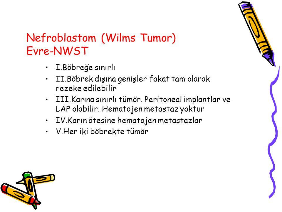 Nefroblastom (Wilms Tumor) Evre-NWST I.Böbreğe sınırlı II.Böbrek dışına genişler fakat tam olarak rezeke edilebilir III.Karına sınırlı tümör. Peritone