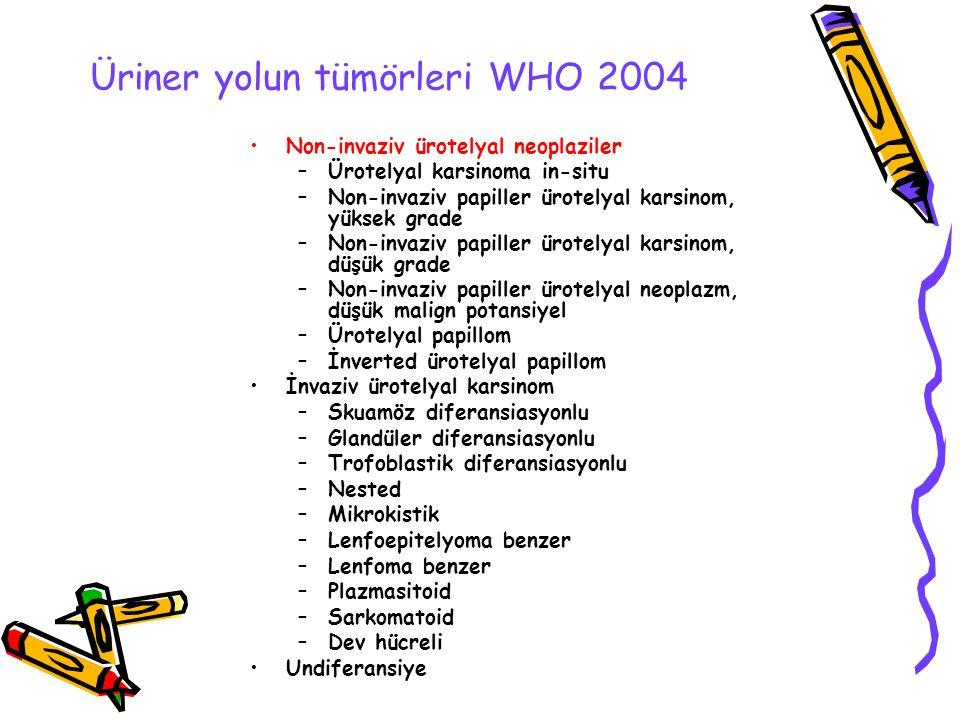 Üriner yolun tümörleri WHO 2004 Non-invaziv ürotelyal neoplaziler –Ürotelyal karsinoma in-situ –Non-invaziv papiller ürotelyal karsinom, yüksek grade