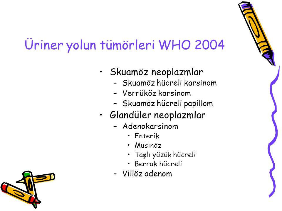 Üriner yolun tümörleri WHO 2004 Skuamöz neoplazmlar –Skuamöz hücreli karsinom –Verrüköz karsinom –Skuamöz hücreli papillom Glandüler neoplazmlar –Aden