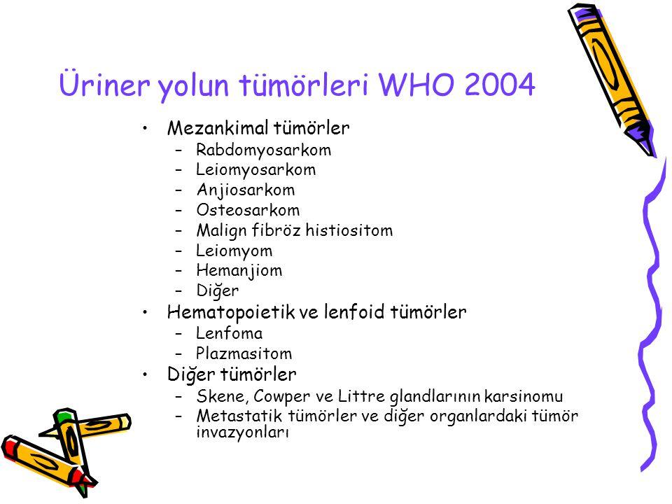 Üriner yolun tümörleri WHO 2004 Mezankimal tümörler –Rabdomyosarkom –Leiomyosarkom –Anjiosarkom –Osteosarkom –Malign fibröz histiositom –Leiomyom –Hem