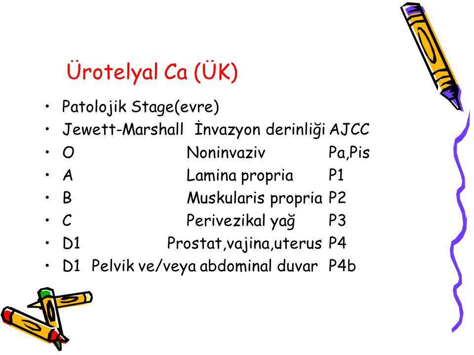 Ürotelyal Ca (ÜK) Patolojik Stage(evre) Jewett-Marshall İnvazyon derinliğiAJCC ONoninvazivPa,Pis ALamina propriaP1 BMuskularis propriaP2 CPerivezikal