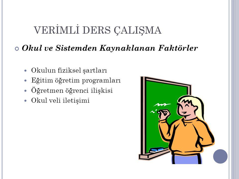 VERİMLİ DERS ÇALIŞMA Okul ve Sistemden Kaynaklanan Faktörler Okulun fiziksel şartları Eğitim öğretim programları Öğretmen öğrenci ilişkisi Okul veli i