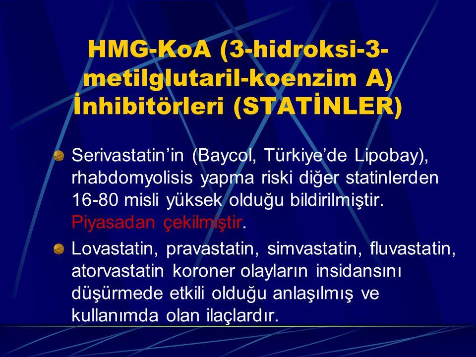 HMG-KoA (3-hidroksi-3- metilglutaril-koenzim A) İnhibitörleri (STATİNLER) Serivastatin'in (Baycol, Türkiye'de Lipobay), rhabdomyolisis yapma riski diğer statinlerden 16-80 misli yüksek olduğu bildirilmiştir.