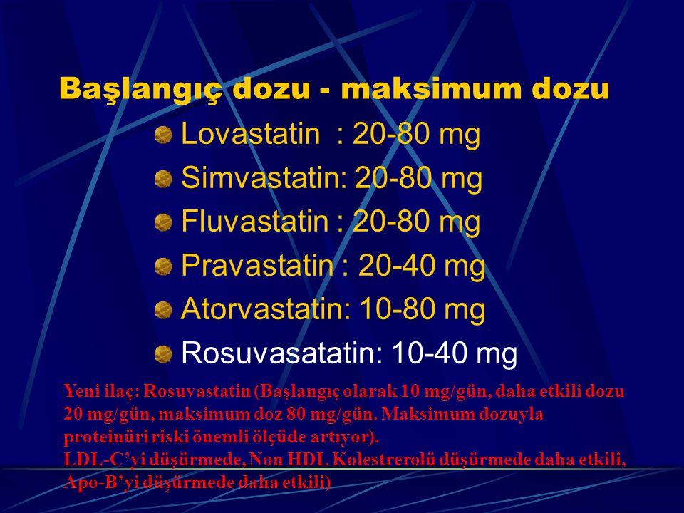 Başlangıç dozu - maksimum dozu Lovastatin : 20-80 mg Simvastatin: 20-80 mg Fluvastatin : 20-80 mg Pravastatin : 20-40 mg Atorvastatin: 10-80 mg Rosuvasatatin: 10-40 mg Yeni ilaç: Rosuvastatin (Başlangıç olarak 10 mg/gün, daha etkili dozu 20 mg/gün, maksimum doz 80 mg/gün.