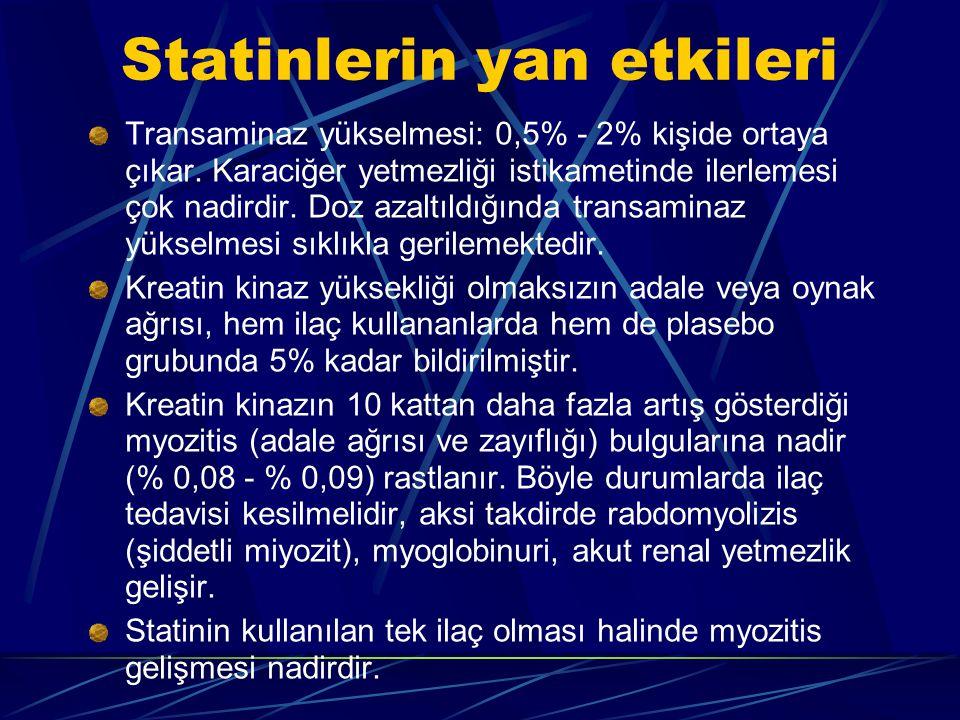 Statinlerin yan etkileri Transaminaz yükselmesi: 0,5% - 2% kişide ortaya çıkar.