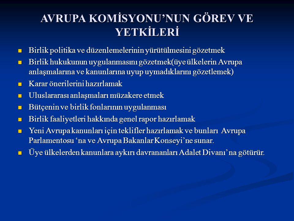 AVRUPA KOMİSYONU'NUN GÖREV VE YETKİLERİ Birlik politika ve düzenlemelerinin yürütülmesini gözetmek Birlik politika ve düzenlemelerinin yürütülmesini g