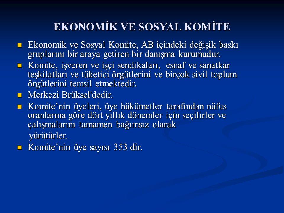EKONOMİK VE SOSYAL KOMİTE Ekonomik ve Sosyal Komite, AB içindeki değişik baskı gruplarını bir araya getiren bir danışma kurumudur. Ekonomik ve Sosyal