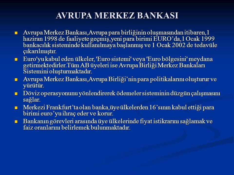 AVRUPA MERKEZ BANKASI Avrupa Merkez Bankası,Avrupa para birliğinin oluşmasından itibaren,1 haziran 1998 de faaliyete geçmiş,yeni para birimi EURO'da,1