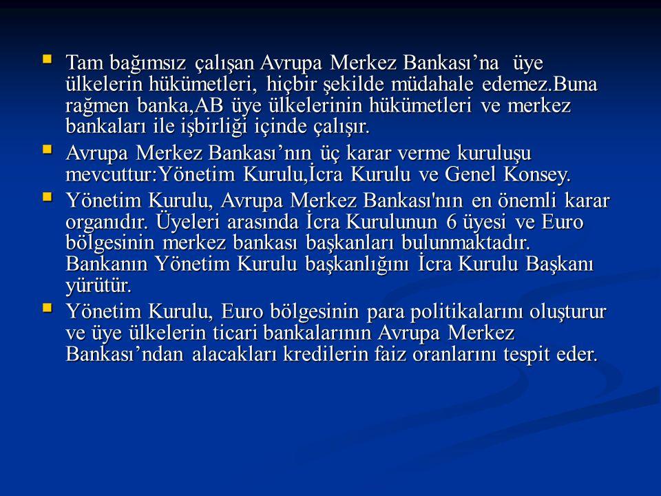  Tam bağımsız çalışan Avrupa Merkez Bankası'na üye ülkelerin hükümetleri, hiçbir şekilde müdahale edemez.Buna rağmen banka,AB üye ülkelerinin hükümet
