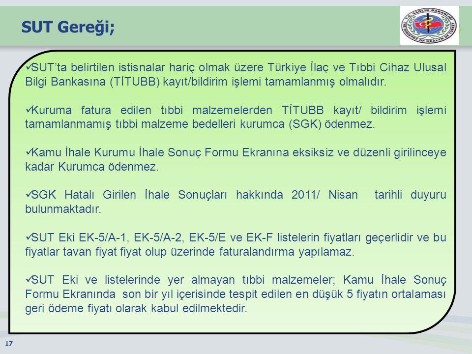 SUT Gereği; 17 SUT'ta belirtilen istisnalar hariç olmak üzere Türkiye İlaç ve Tıbbi Cihaz Ulusal Bilgi Bankasına (TİTUBB) kayıt/bildirim işlemi tamamlanmış olmalıdır.