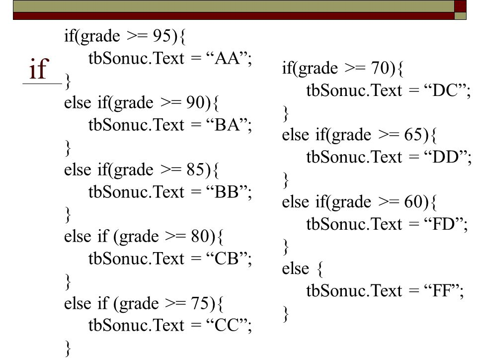 "if if(grade >= 95){ tbSonuc.Text = ""AA""; } else if(grade >= 90){ tbSonuc.Text = ""BA""; } else if(grade >= 85){ tbSonuc.Text = ""BB""; } else if (grade >="