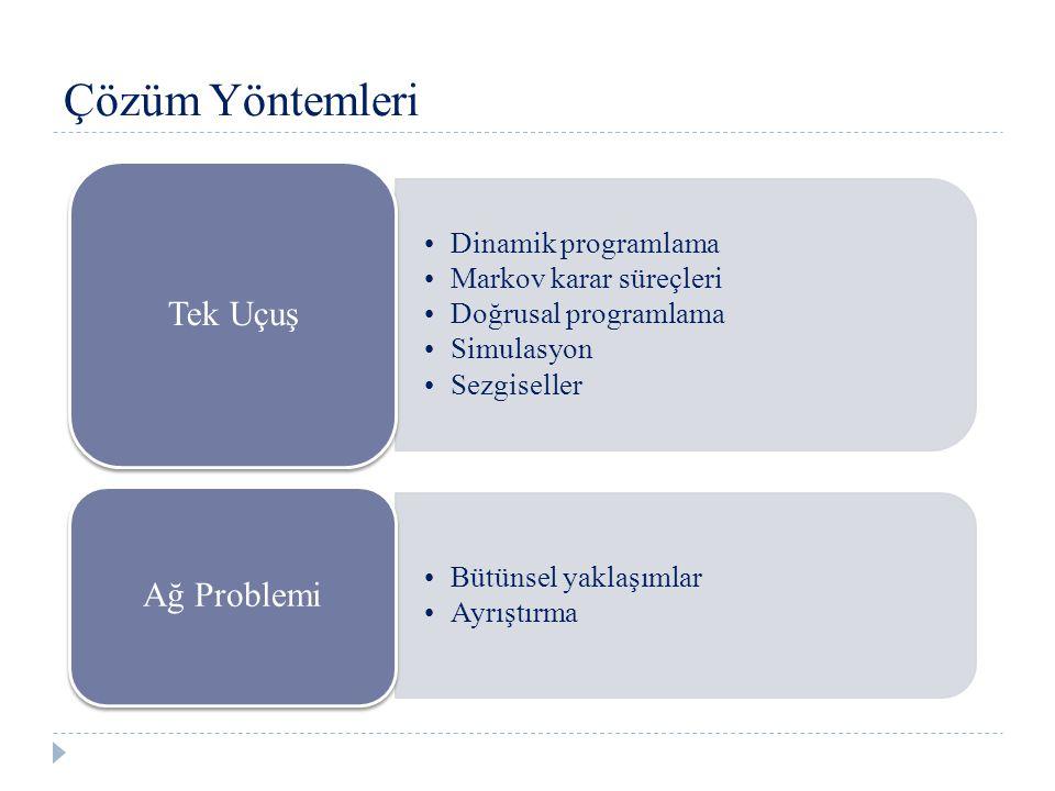Çözüm Yöntemleri Dinamik programlama Markov karar süreçleri Doğrusal programlama Simulasyon Sezgiseller Tek Uçuş Bütünsel yaklaşımlar Ayrıştırma Ağ Problemi