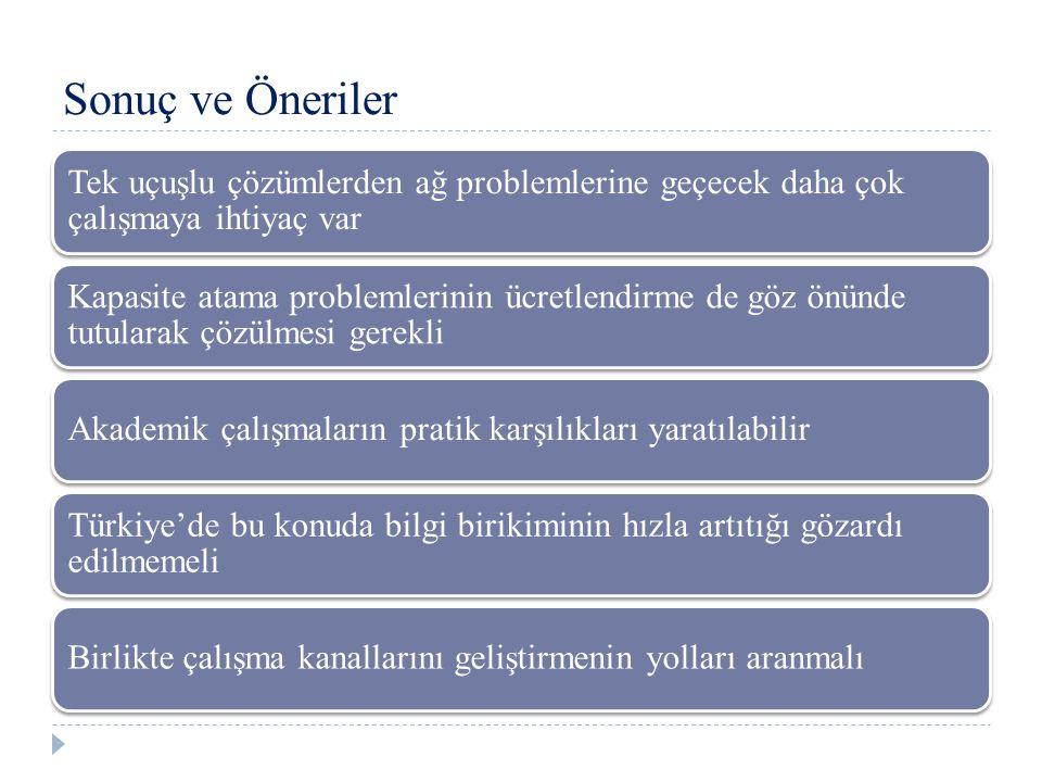 Tek uçuşlu çözümlerden ağ problemlerine geçecek daha çok çalışmaya ihtiyaç var Kapasite atama problemlerinin ücretlendirme de göz önünde tutularak çözülmesi gerekli Akademik çalışmaların pratik karşılıkları yaratılabilir Türkiye'de bu konuda bilgi birikiminin hızla artıtığı gözardı edilmemeli Birlikte çalışma kanallarını geliştirmenin yolları aranmalı Sonuç ve Öneriler