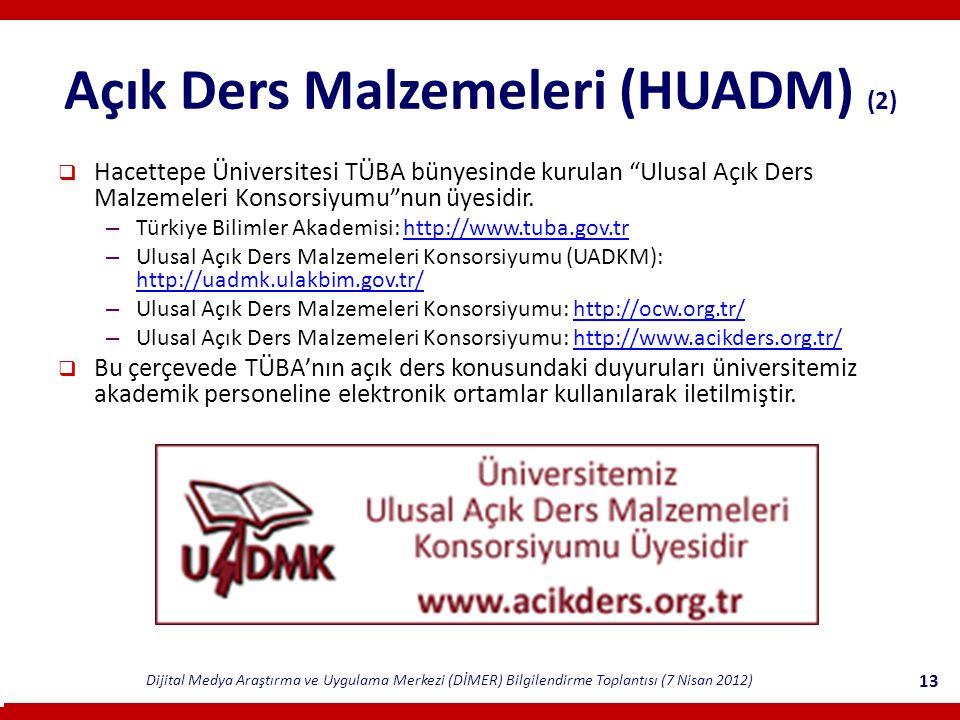 Dijital Medya Araştırma ve Uygulama Merkezi (DİMER) Bilgilendirme Toplantısı (7 Nisan 2012) 13 Açık Ders Malzemeleri (HUADM) (2)  Hacettepe Üniversitesi TÜBA bünyesinde kurulan Ulusal Açık Ders Malzemeleri Konsorsiyumu nun üyesidir.