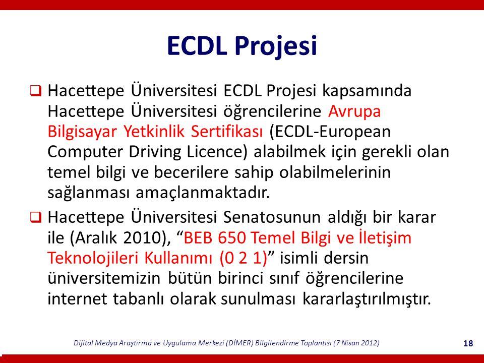 Dijital Medya Araştırma ve Uygulama Merkezi (DİMER) Bilgilendirme Toplantısı (7 Nisan 2012) 18 ECDL Projesi  Hacettepe Üniversitesi ECDL Projesi kapsamında Hacettepe Üniversitesi öğrencilerine Avrupa Bilgisayar Yetkinlik Sertifikası (ECDL-European Computer Driving Licence) alabilmek için gerekli olan temel bilgi ve becerilere sahip olabilmelerinin sağlanması amaçlanmaktadır.