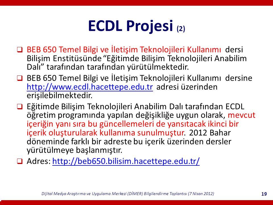 Dijital Medya Araştırma ve Uygulama Merkezi (DİMER) Bilgilendirme Toplantısı (7 Nisan 2012) 19 ECDL Projesi (2)  BEB 650 Temel Bilgi ve İletişim Teknolojileri Kullanımı dersi Bilişim Enstitüsünde Eğitimde Bilişim Teknolojileri Anabilim Dalı tarafından tarafından yürütülmektedir.