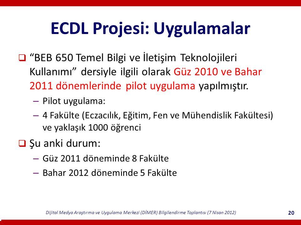 Dijital Medya Araştırma ve Uygulama Merkezi (DİMER) Bilgilendirme Toplantısı (7 Nisan 2012) 20 ECDL Projesi: Uygulamalar  BEB 650 Temel Bilgi ve İletişim Teknolojileri Kullanımı dersiyle ilgili olarak Güz 2010 ve Bahar 2011 dönemlerinde pilot uygulama yapılmıştır.