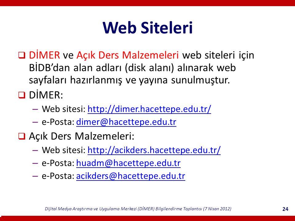 Dijital Medya Araştırma ve Uygulama Merkezi (DİMER) Bilgilendirme Toplantısı (7 Nisan 2012) 24 Web Siteleri  DİMER ve Açık Ders Malzemeleri web siteleri için BİDB'dan alan adları (disk alanı) alınarak web sayfaları hazırlanmış ve yayına sunulmuştur.