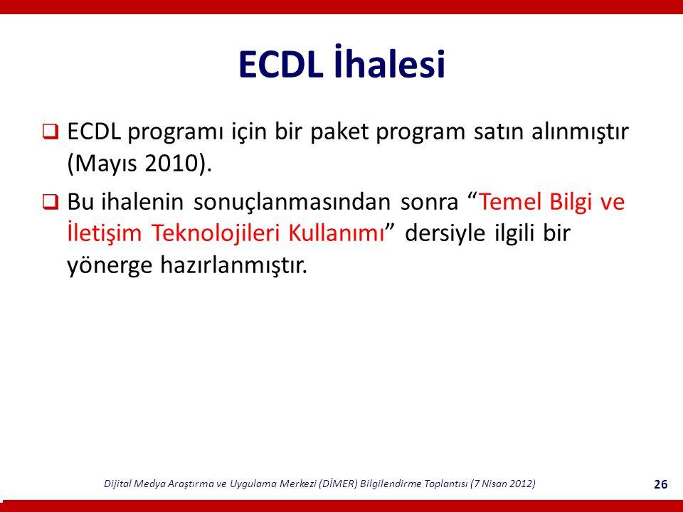 Dijital Medya Araştırma ve Uygulama Merkezi (DİMER) Bilgilendirme Toplantısı (7 Nisan 2012) 26 ECDL İhalesi  ECDL programı için bir paket program satın alınmıştır (Mayıs 2010).