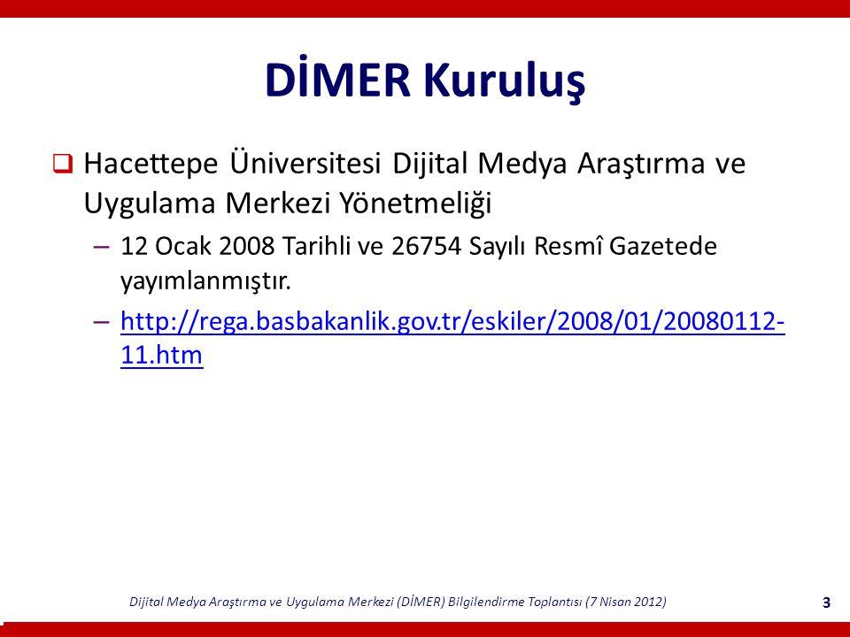 Dijital Medya Araştırma ve Uygulama Merkezi (DİMER) Bilgilendirme Toplantısı (7 Nisan 2012) 3 DİMER Kuruluş  Hacettepe Üniversitesi Dijital Medya Araştırma ve Uygulama Merkezi Yönetmeliği – 12 Ocak 2008 Tarihli ve 26754 Sayılı Resmî Gazetede yayımlanmıştır.