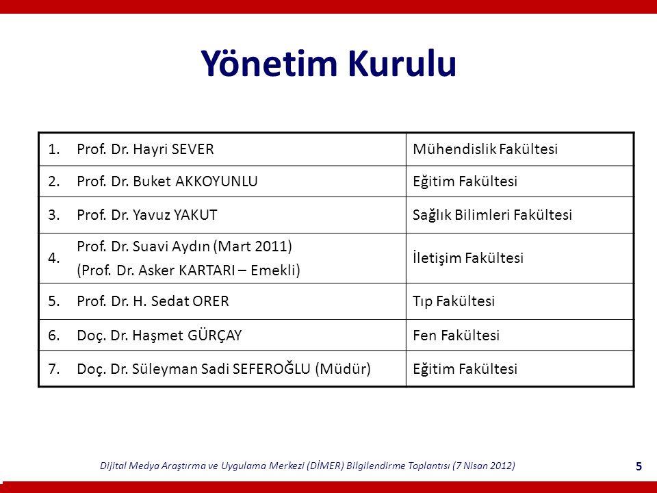 Dijital Medya Araştırma ve Uygulama Merkezi (DİMER) Bilgilendirme Toplantısı (7 Nisan 2012) 5 Yönetim Kurulu 1.Prof.